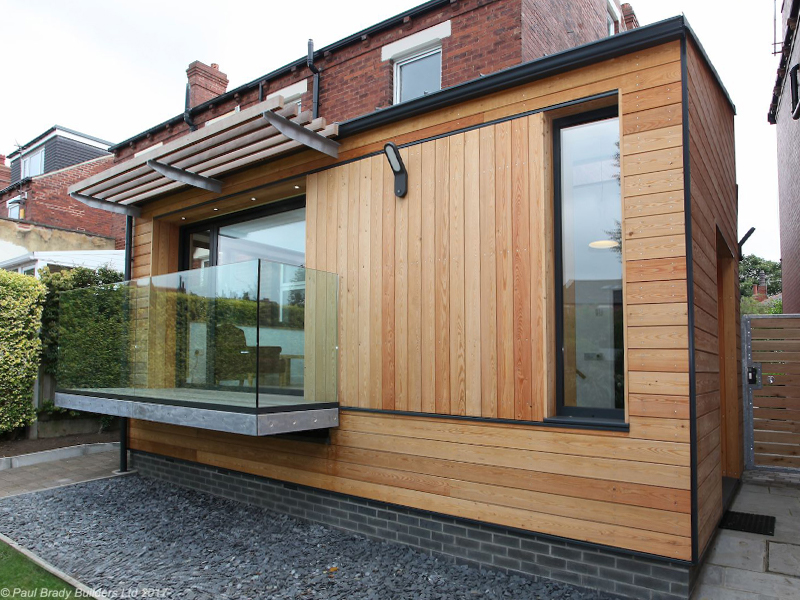 Modern wood-clad extension